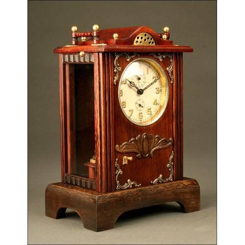 Reloj de Sombremesa Junghans. Años 30. Con Alarma y Caja de Música. Funciona Muy Bien