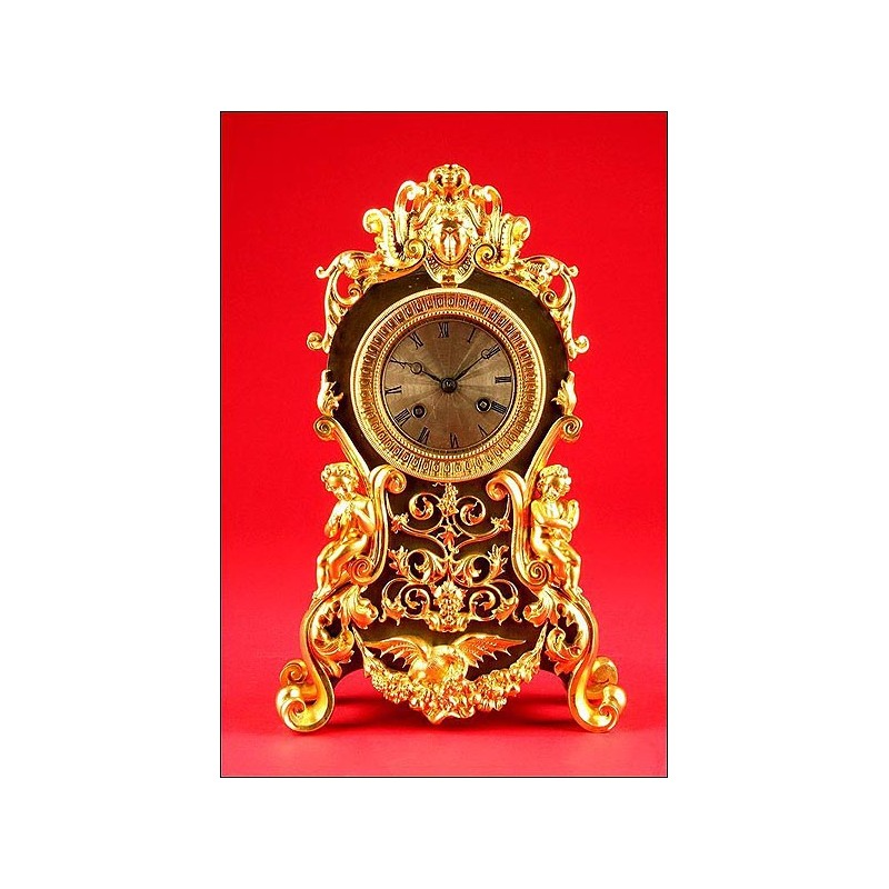 Magnífico Reloj de Sobremesa en Bronce Bicolor, Patinado y Dorado al Mercurio, ca. 1830. Funcionando
