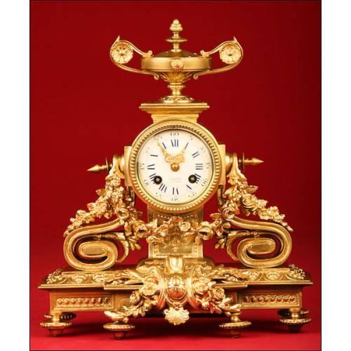 Magnífico Reloj de Sobremesa Francés en Bronce. S.XIX