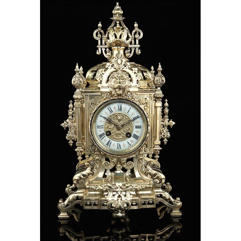 Reloj Francés de Bronce Dorado del Siglo XIX. Maquinaria Japy Frères. Funcionando a la Perfección