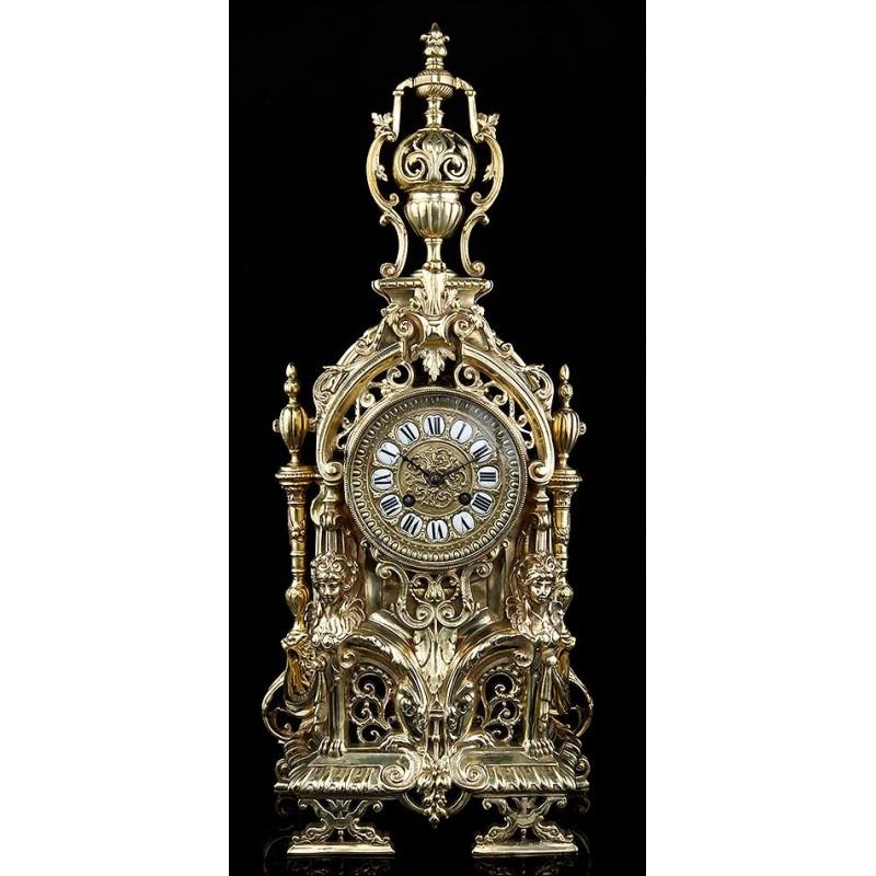 Bellísimo Reloj de Sobremesa Francés del Siglo XIX. En Magnífico Estado y Funcionando Perfectamente