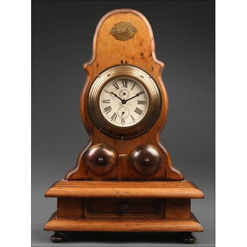 Reloj Despertador de Barco en Madera y Metal. Años 50. En Buen Estado y Funcionando
