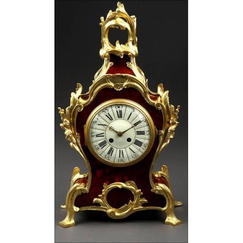 Magnífico Reloj Francés en Bronce y Concha de Tortuga. Circa 1870, Funcionando