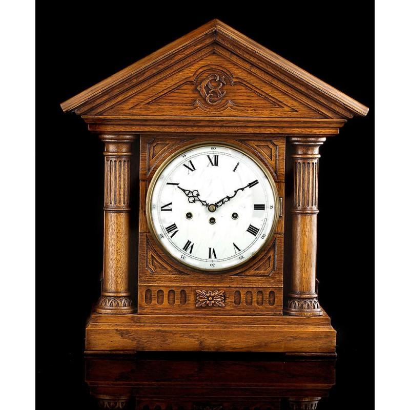 Reloj de Péndulo Junghans de Sobremesa con Sonería Westminster. Alemania, 1900. Funcionando.