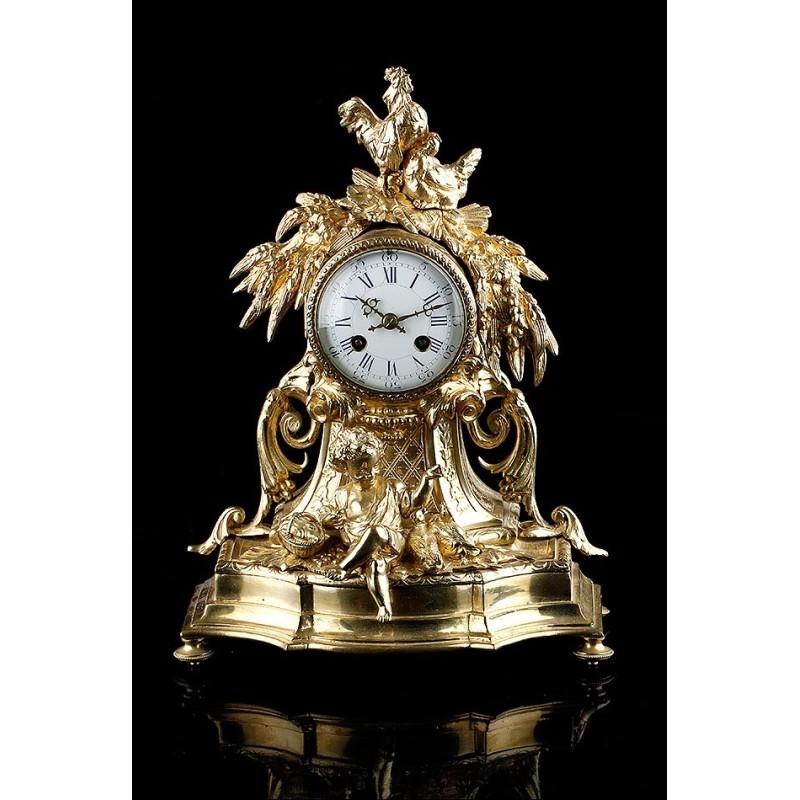 Magnífico Reloj de Sobremesa de Péndulo en Bronce Francia, Siglo XIX