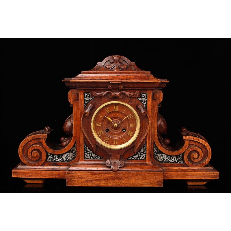 Magnífico Reloj de Sobremesa Tallado a Mano y con Decoración Boulle. Francia, Circa 1890