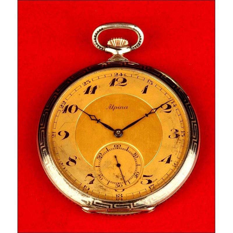 Reloj de Bolsillo Art Decó marca ALPINA en Plata Nielada. Alemania, 1930. En Buen Estado de Funcionamiento.