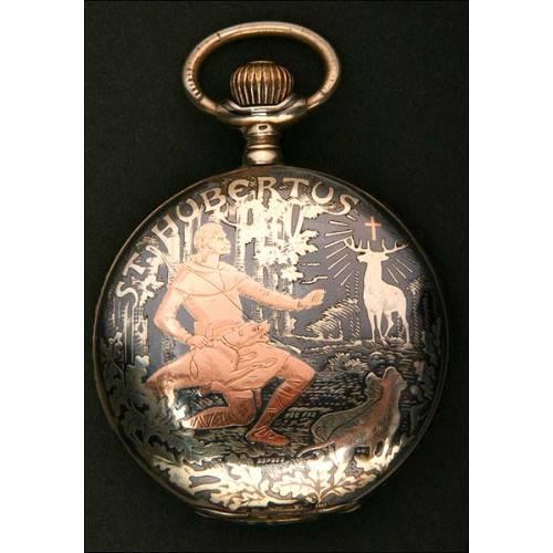 1900, Impresionante Reloj de Bolsillo Pallas en Plata Maciza Repujada Dedicado a San Huberto!