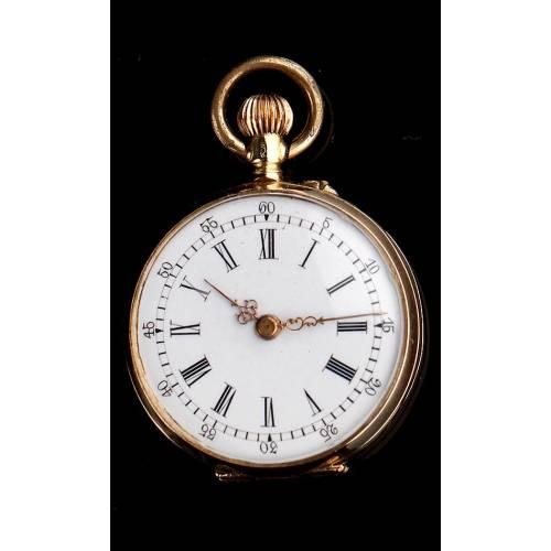 Bello Reloj de Bolsillo de Señora en Oro de 14K. Suiza, Circa 1890. En Estuche Original