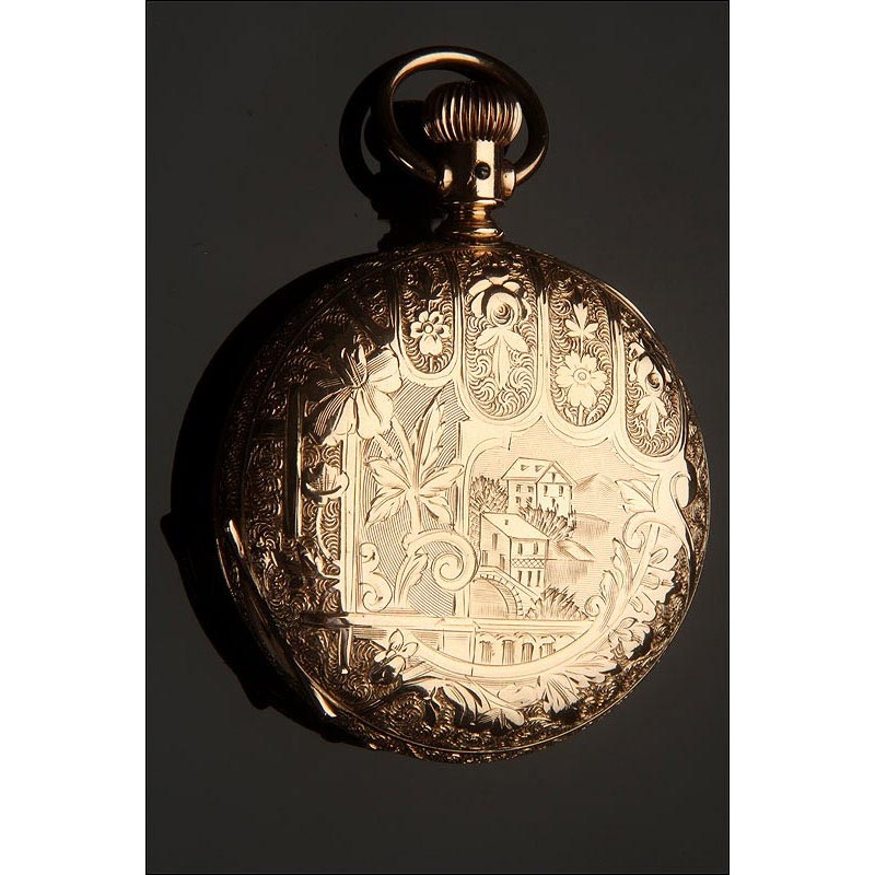 Exclusivo Reloj Americano de Bolsillo Hampden, 1889. Chapado en Oro y Grabado. Funcionando
