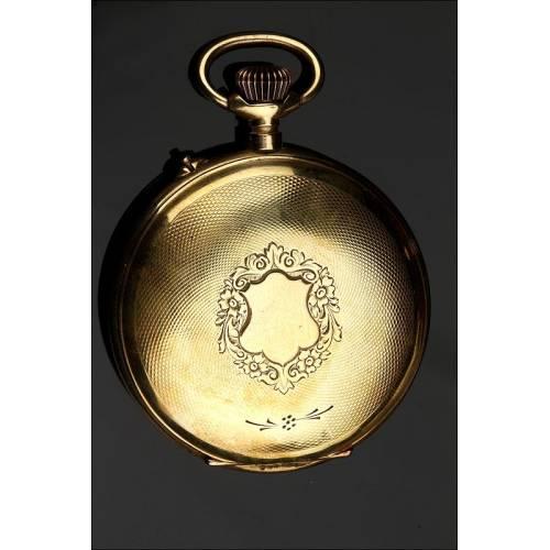 Antiguo Reloj de Bolsillo de Metal Dorado, Año 1890. Muy Bien Conservado y Funcionando