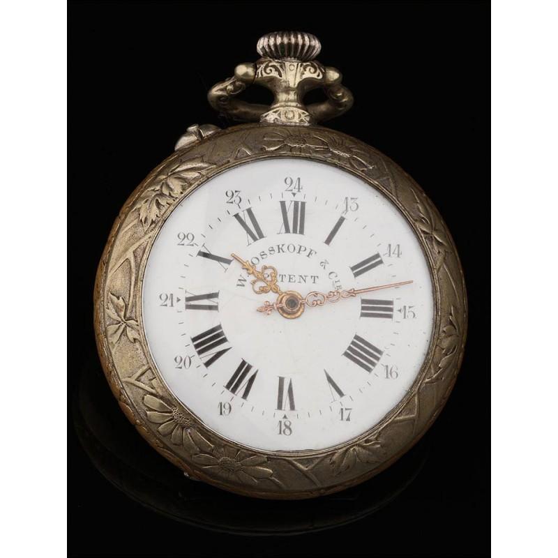 Reloj de Bolsillo W. Rosskopf Fabricado Circa 1900. Firmado en Tapas y Maquinaria. Grabado a Mano
