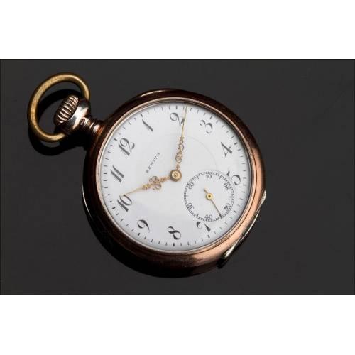 Reloj de Bolsillo de Plata Marca Zenith, Fabricado en Suiza en 1910. Firmado y en Funcionamiento