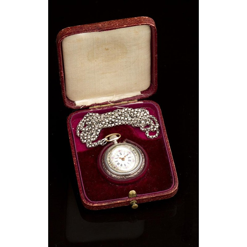 Reloj de Bolsillo de Señora de Plata Maciza. Alemania, 1900. Maquinaria Grabada y en Estuche Original
