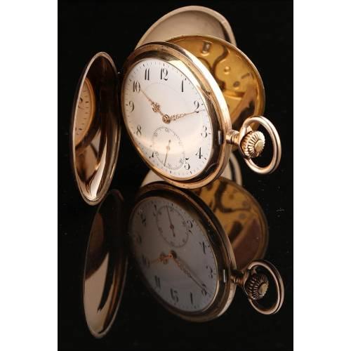 Elegante Reloj de Bolsillo Suizo en Oro Macizo de 14K. Fabricado en 1870. Perfecto Funcionamiento