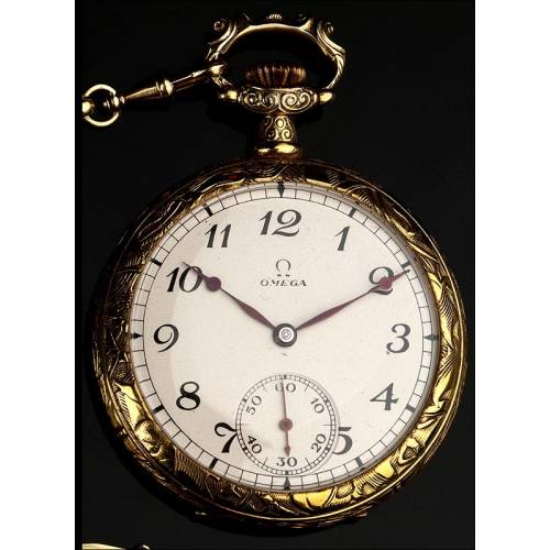 Precioso Reloj Suizo Omega, Circa 1923. Profusamente Grabado.  Funciona Perfectamente