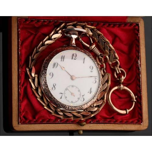 Bello Reloj de Bolsillo Alemán de Plata de Finales del S. XIX. En Estuche Original y Funcionando