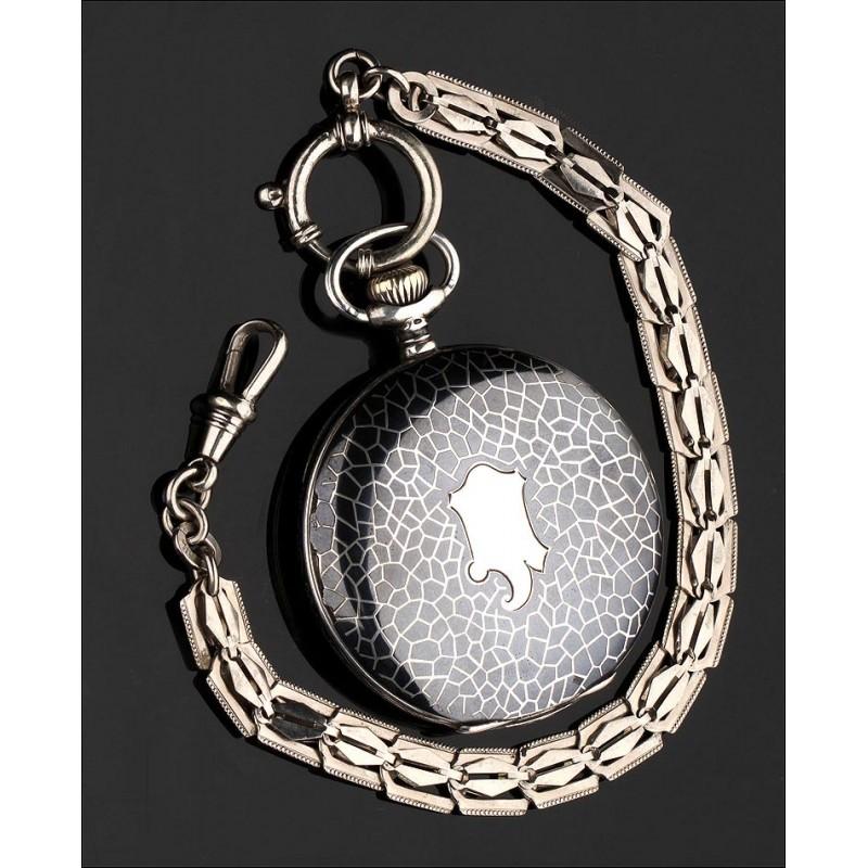 Precioso Reloj de Bolsillo en Plata Nielada. Alemania, 1902. En Muy Buen Estado y Funcionando
