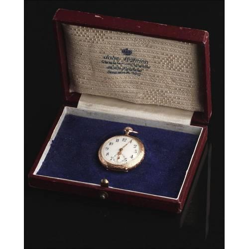 Magnífico Reloj de Señora de Oro Macizo de 14K. Finales del S. XIX. Funcionando y en Estuche Original
