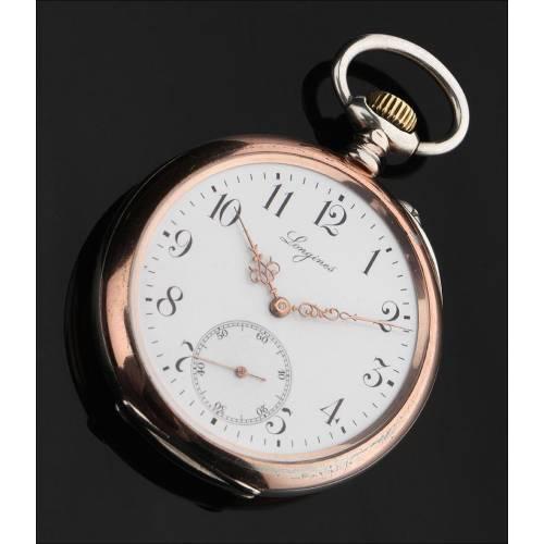 Reloj de Bolsillo Longines Fabricado en Plata Maciza en 1901. En Perfecto Funcionamiento