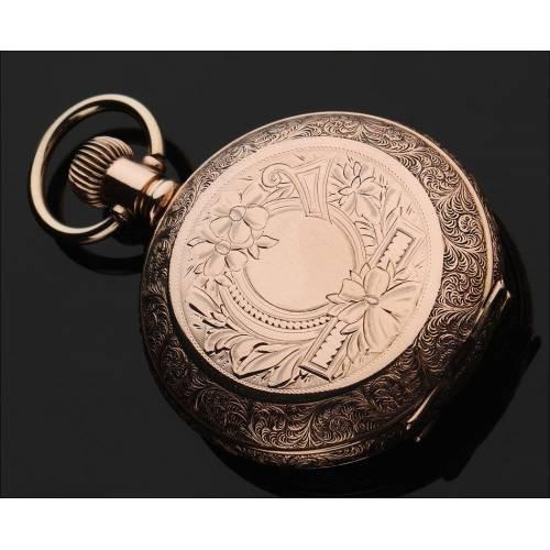 Elegante Reloj Norteamericano de la Marca Elgin, Chapado en Oro. Año 1896