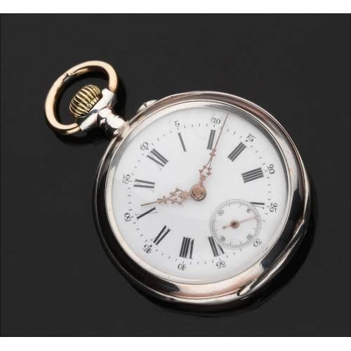 Precioso Reloj de Bolsillo Alemán de Plata Maciza, Circa 1900. En Muy Buen Estado y Funcionando
