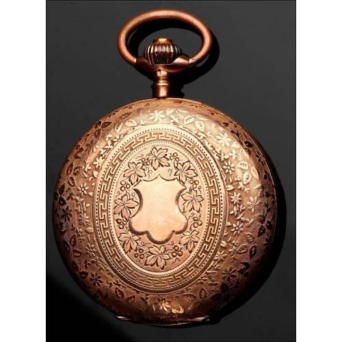 Valioso Reloj de Bolsillo Suizo de Oro Macizo, Ca. 1860. Decorado con Grabados. Contrastado