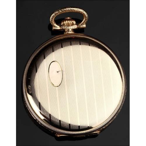 Bello Reloj de Bolsillo Alemán Chapado en Oro. Años 40 del Siglo XX. En Perfecto Estado de Funcionamiento