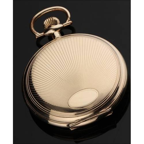 Reloj de Bolsillo Chapado en Oro. Mediados del Siglo XX. Muy Bien Conservado