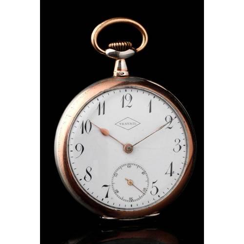 Precioso Reloj de Bolsillo de Plata Maciza Estilo Art Nouveau. Suiza, 1910