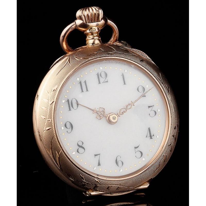 Precioso Reloj de Bolsillo de Señora en Oro Macizo de 14K. Suiza, Circa 1890