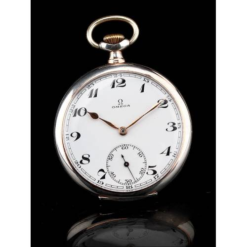 Reloj de Bolsillo Omega de Plata Maciza Contrastada. Suiza, 1934. Funcionando