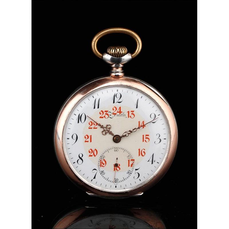 Impresionante Reloj de Bolsillo Zenith de Plaza Maciza Contrastada. Suiza, Circa 1920.