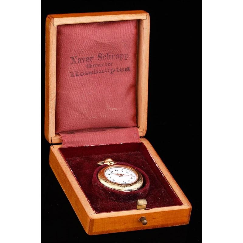 Precioso Reloj de Colgante Chapado en Oro. Año 1900, Estuche Original. Funciona