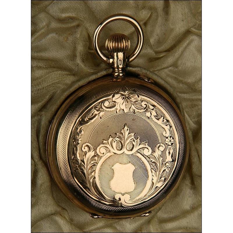 Reloj de Bolsillo de Señora en Oro de 14 Quilates y Diamantes. Alemania, S. XIX. Estuche Original