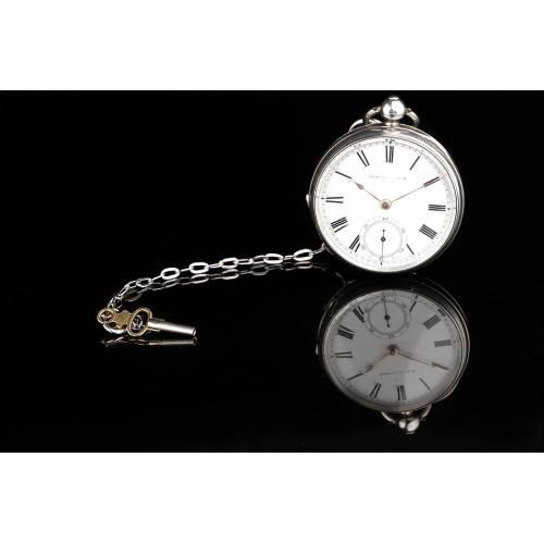 Magnífico Reloj de Bolsillo Farringdon H en Plata Esmaltada. Inglaterra, 1883. Bien Conservado