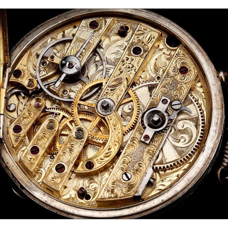 Precioso Reloj de Bolsillo de Plata. Francia, Circa 1850. Maquinaria Labrada a Mano