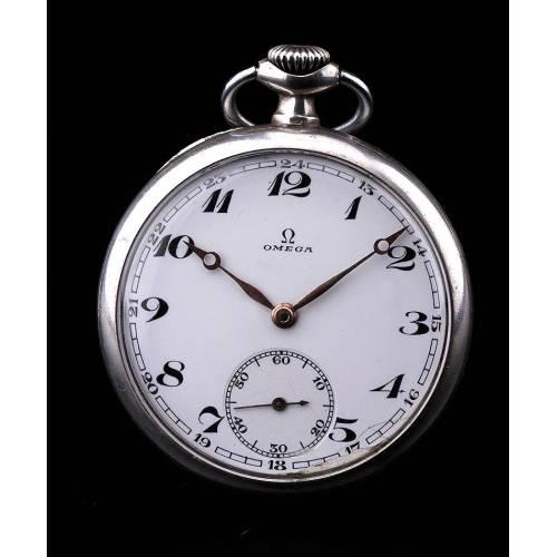 Reloj de Bolsillo Omega de Plata Maciza. Suiza, Circa 1920. En Perfecto Funcionamiento
