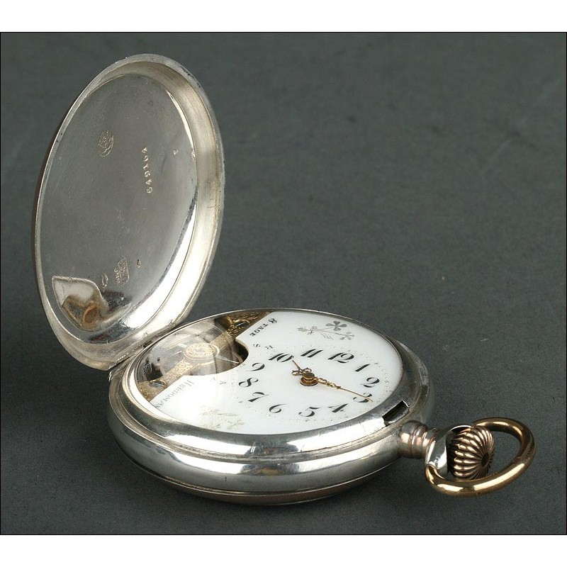 Magnífico Reloj de Bolsillo Hebdomas en Plata, Bien Conservado y Funcionando. Circa 1900