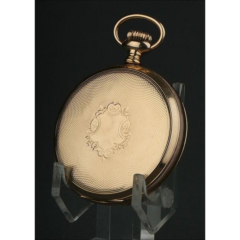 Impresionante Reloj de Bolsillo Waltham de 1903. En Oro Macizo de 14 Kilates y Funcionando