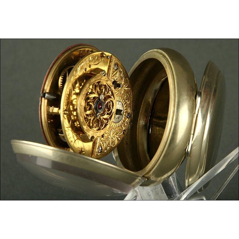 Rarísimo Reloj Inglés de Bolsillo Tipo Catalino, Finales S. XVIII. Firmado y en Perfecto Funcionamiento
