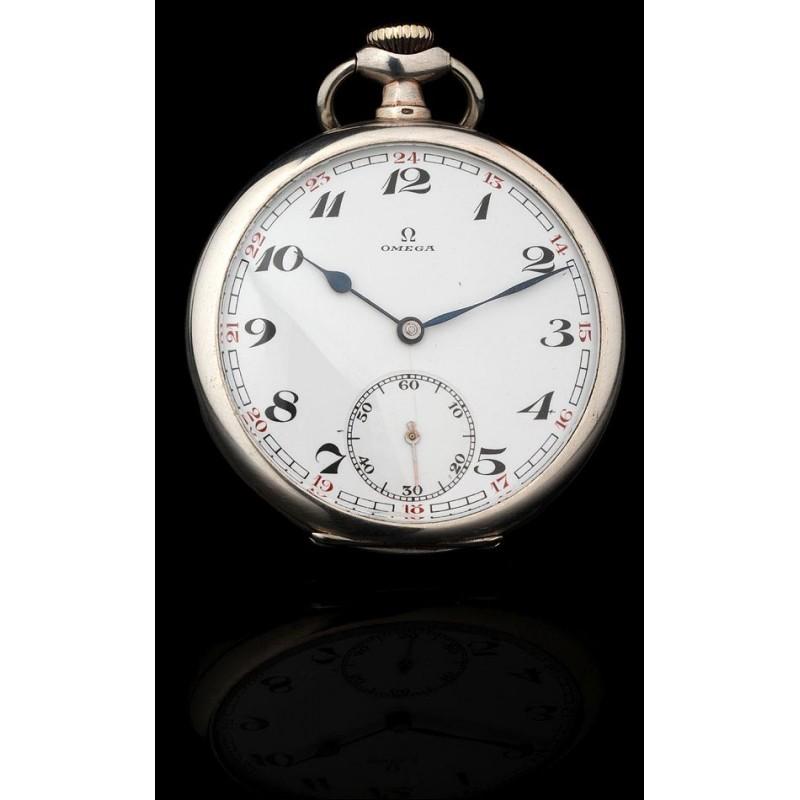 Reloj de Bolsillo Omega Fabricado en Plata Maciza en 1925. En Muy Buen Estado y Funcionando
