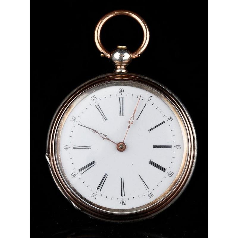 Precioso Reloj Suizo de Plata Maciza Fabricado en 1850. Antiguo y Bien Conservado. En Funcionamiento