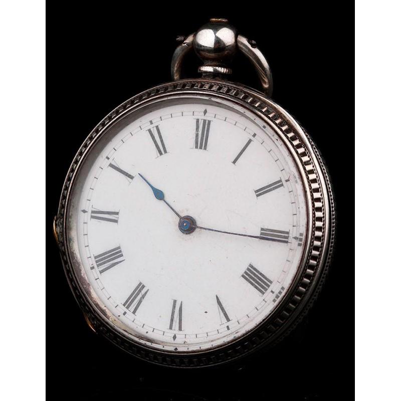 Reloj de Bolsillo Suizo de Gran Elegancia, Fabricado en Plata en el Año 1850. Con Contrastes y en Funcionamiento