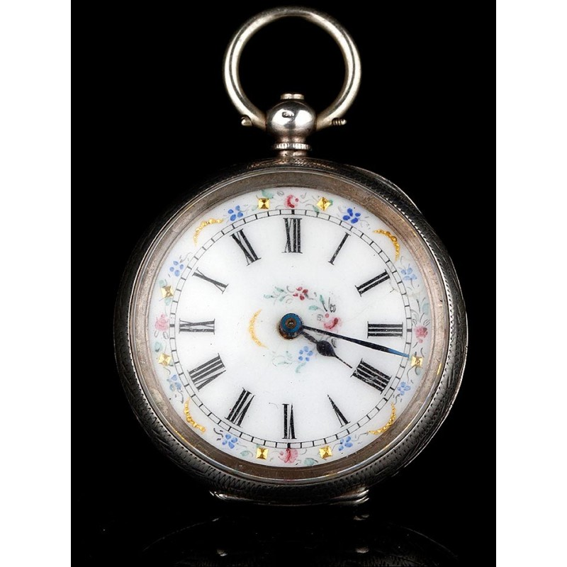 Reloj de Bolsillo Suizo de Plata Maciza. Esfera Esmaltada a Mano. Circa 1870, Funcionando