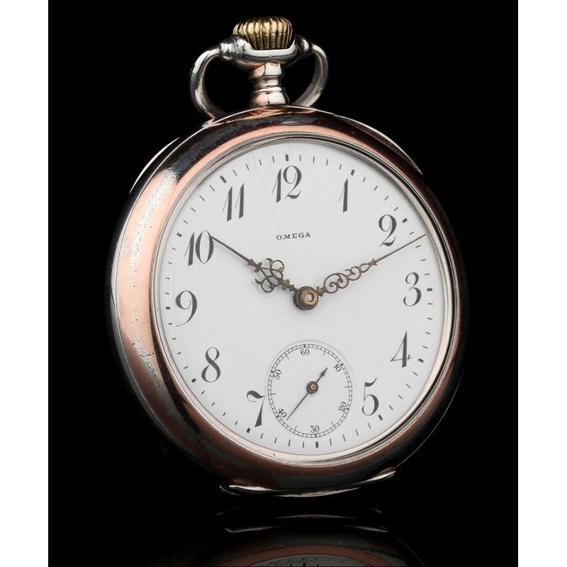 Reloj de Bolsillo de Plata Marca Omega del Año 1900. En Muy Buen Estado y Funcionando Perfectamente