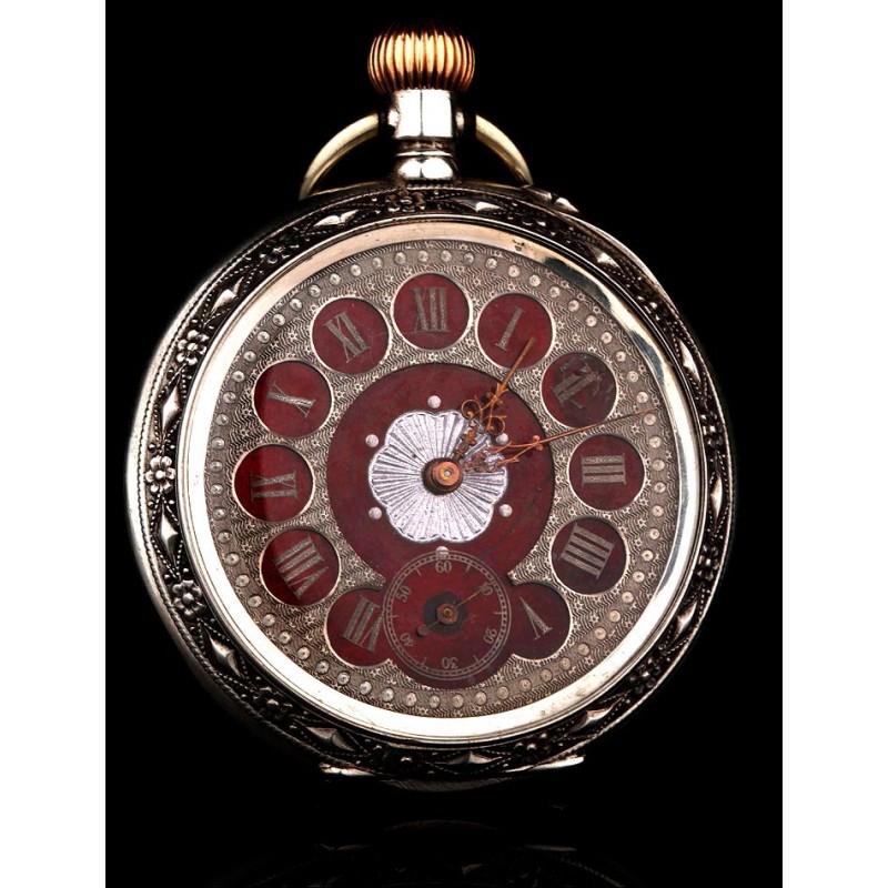 Hermoso Reloj de Plata Maciza Labrado a Mano, Fabricado en Suiza en 1890. Funcionando Muy Bien