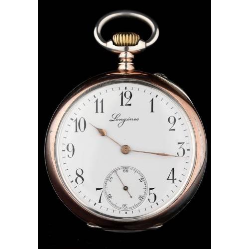 Antiguo Reloj de Bosillo Longines Fabricado en 1895. Plata Maciza. Bien Conservado y Funcionando