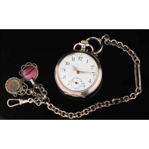 Reloj de Bolsillo Suizo de Plata Maciza, Fabricado en el Siglo XIX. Labrado y Funcionando