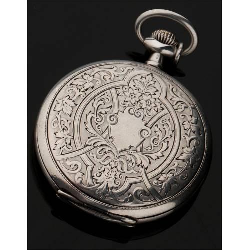 Bellísimo Reloj de Bolsillo Longines de Plata Maciza. Circa 1920, Firmado y Contrastado
